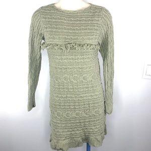 JEANNE PIERRE tunic chunky knit green sweater M